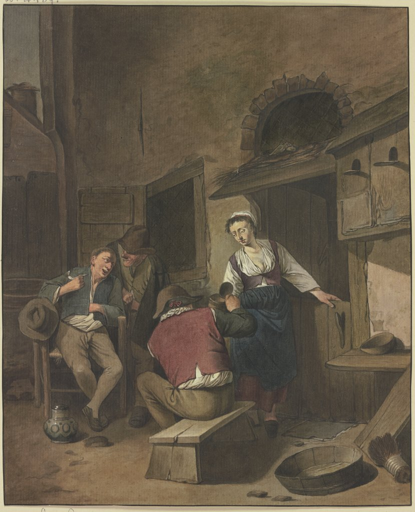 Three drinking farmers, Aletta de Freij, after Cornelis Pietersz. Bega