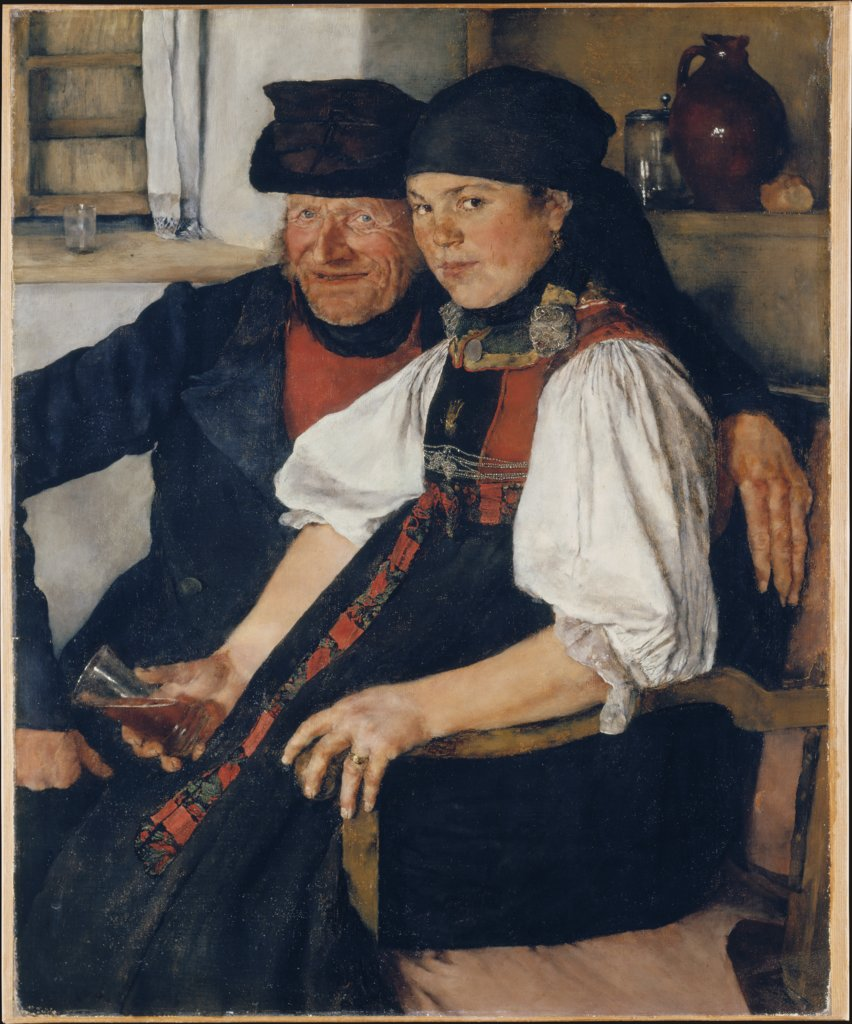 "Elderly Farmer and Young Girl (""The Unequal Couple""), Wilhelm Leibl"