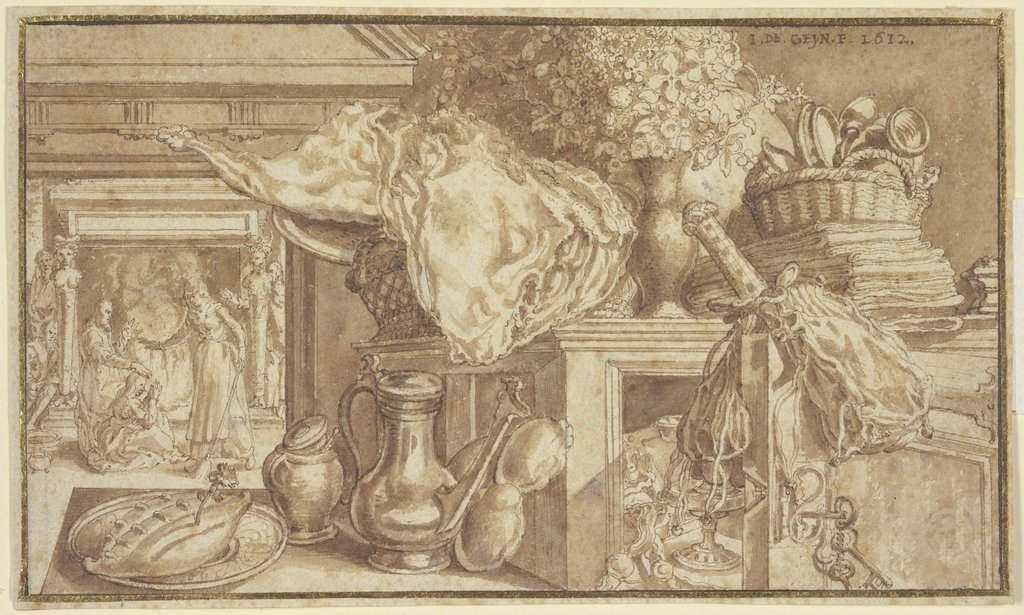 A kitchen still life, Jacques de Gheyn II, after Pieter Aertsen