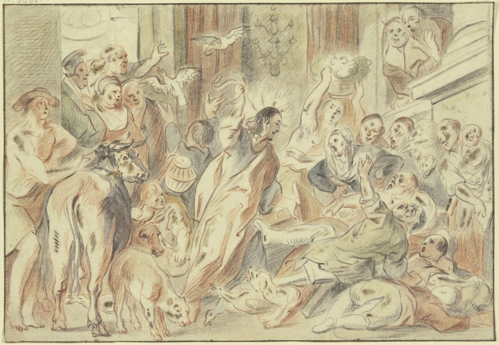Christus reinigt den Tempel, Johann Gottlieb Prestel, after Jacob Jordaens
