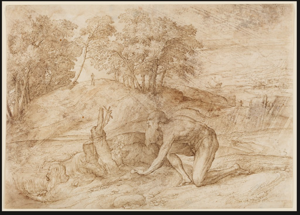 Landscape with St Jerome, Domenico Campagnola