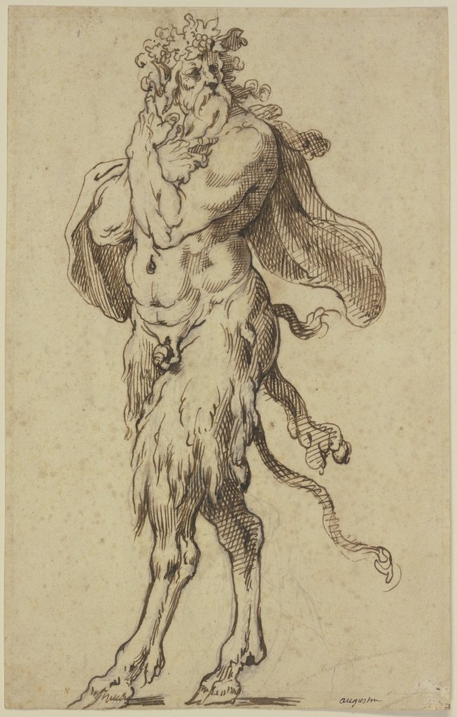 Alter Satyr nach links, Agostino Carracci
