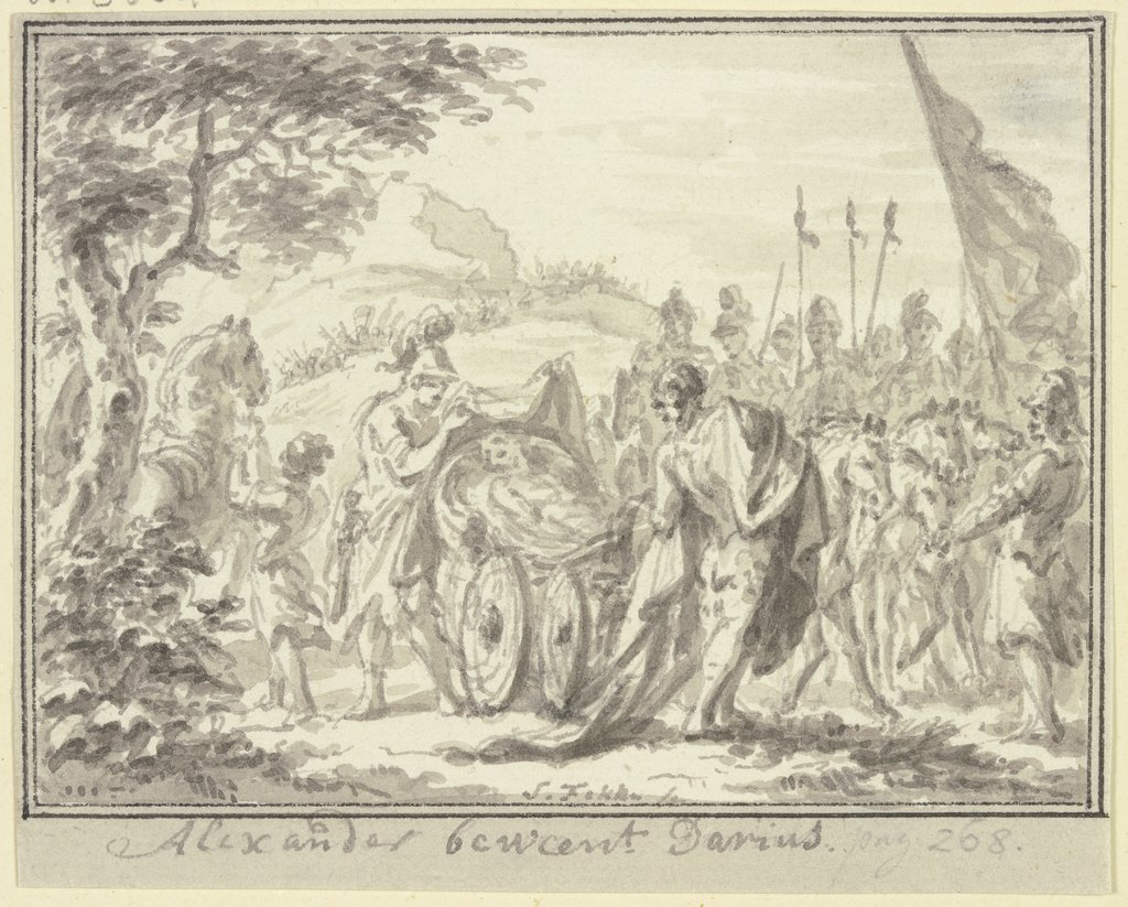 Alexander weeping for Darius, Simon Fokke