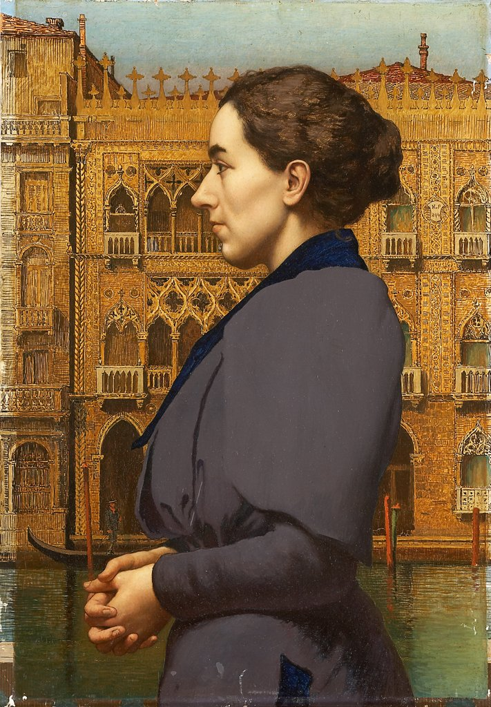 Portrait of Anna Cossmann before Ca d'Oro in Venice, Karl von Pidoll