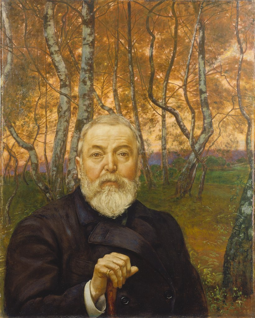 Self-Portrait in front of a Birch Forest, Hans Thoma