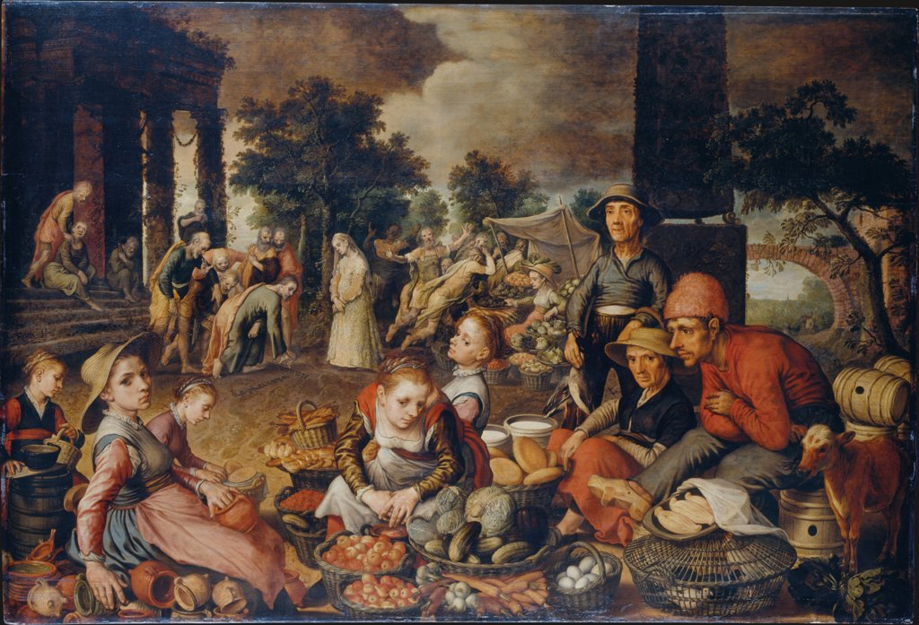 Market Scene with Christ and the Adulteress, Pieter Aertsen