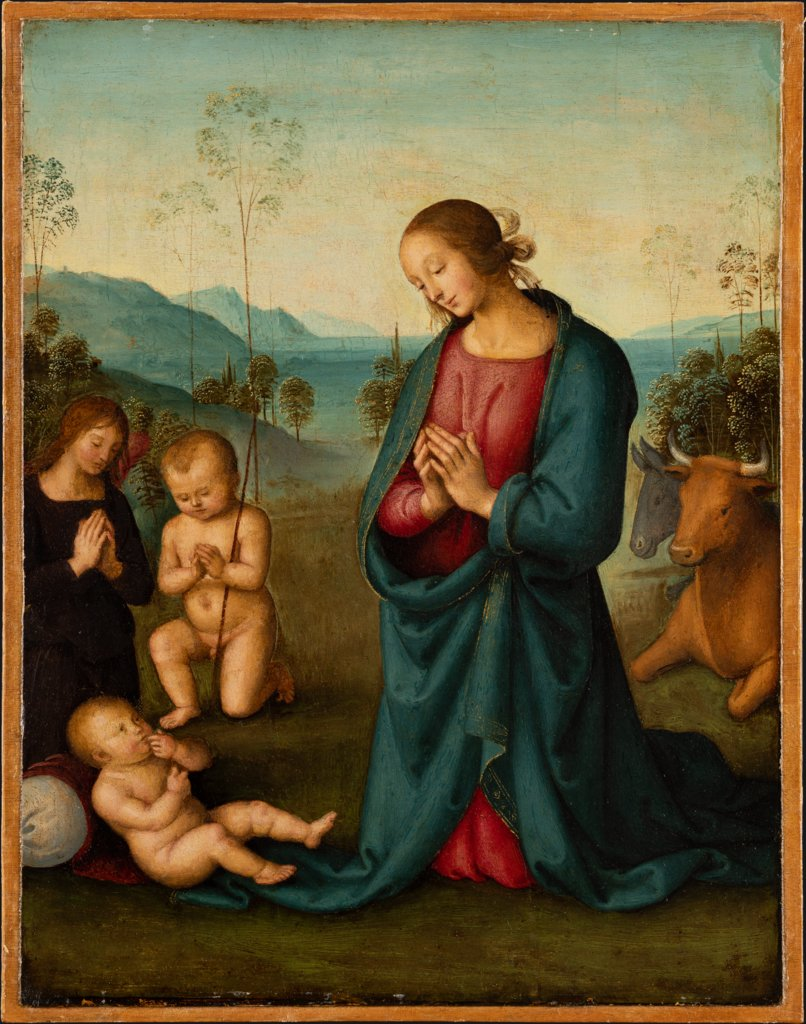 Madonna, the Infant St. John and an angel, worshiping the Christ Child, Pietro Perugino  workshop