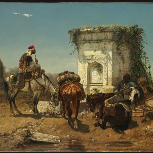 Arabs Resting by a Marble Fountain, Adolf Schreyer