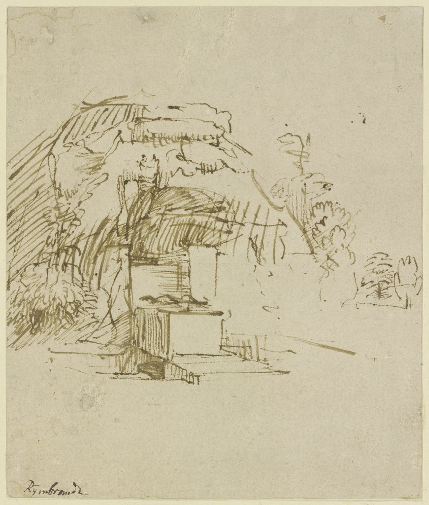 Well in front of a hut, Rembrandt Harmensz. van Rijn  school