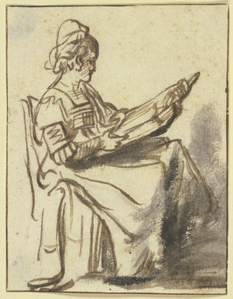 Sitting woman, reading, Netherlandish, 17th century