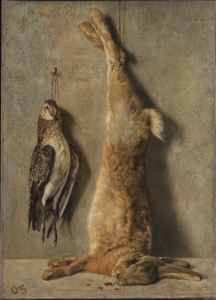 Still Life with Dead Hare and Guinea Fowl in Front of a Grey Wall, Otto Scholderer