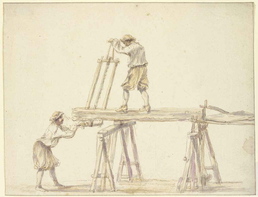 Two men sawing wood, French, 17th century