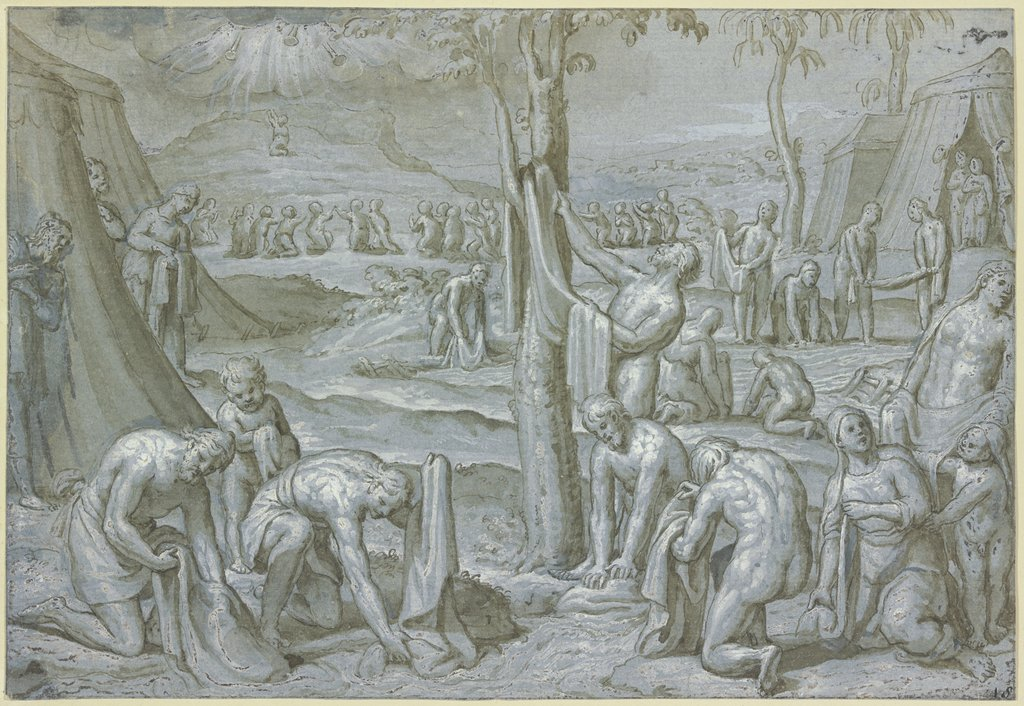 The Purification of the Garments in the Lustral Waters during the Holy War against Madian, Netherlandish, 16th century   ?