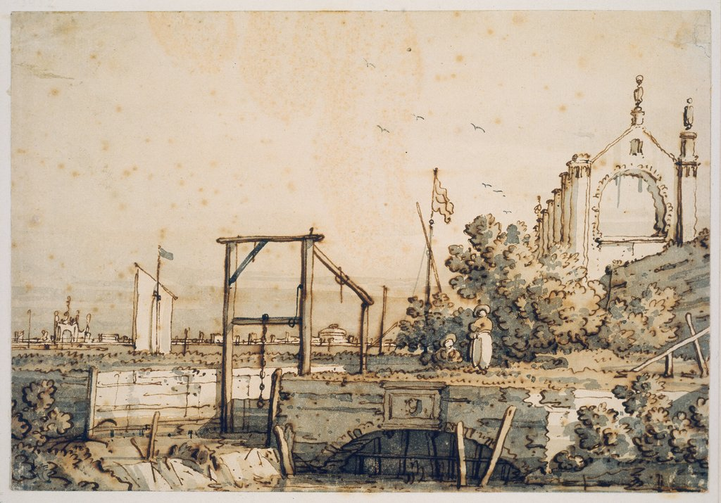 Capriccio with a Lock Gate by a River, Canaletto (Giovanni Antonio Canal)
