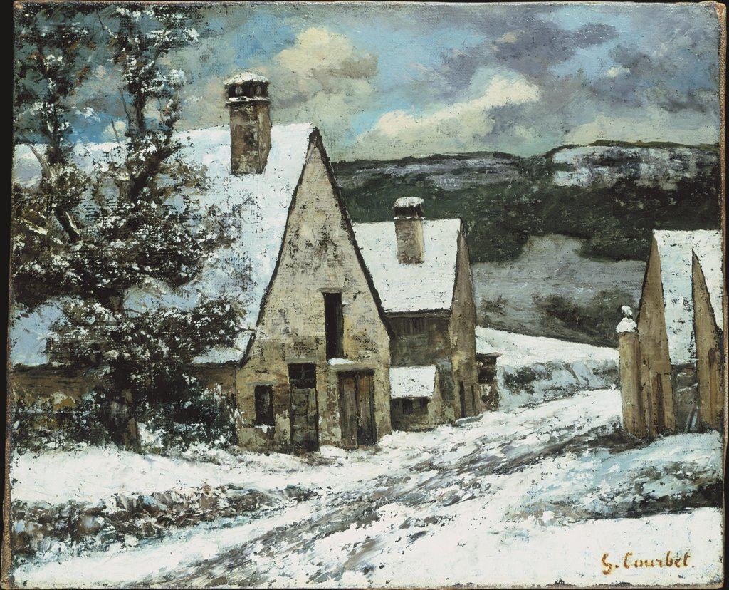 Dorfausgang im Winter, Gustave Courbet