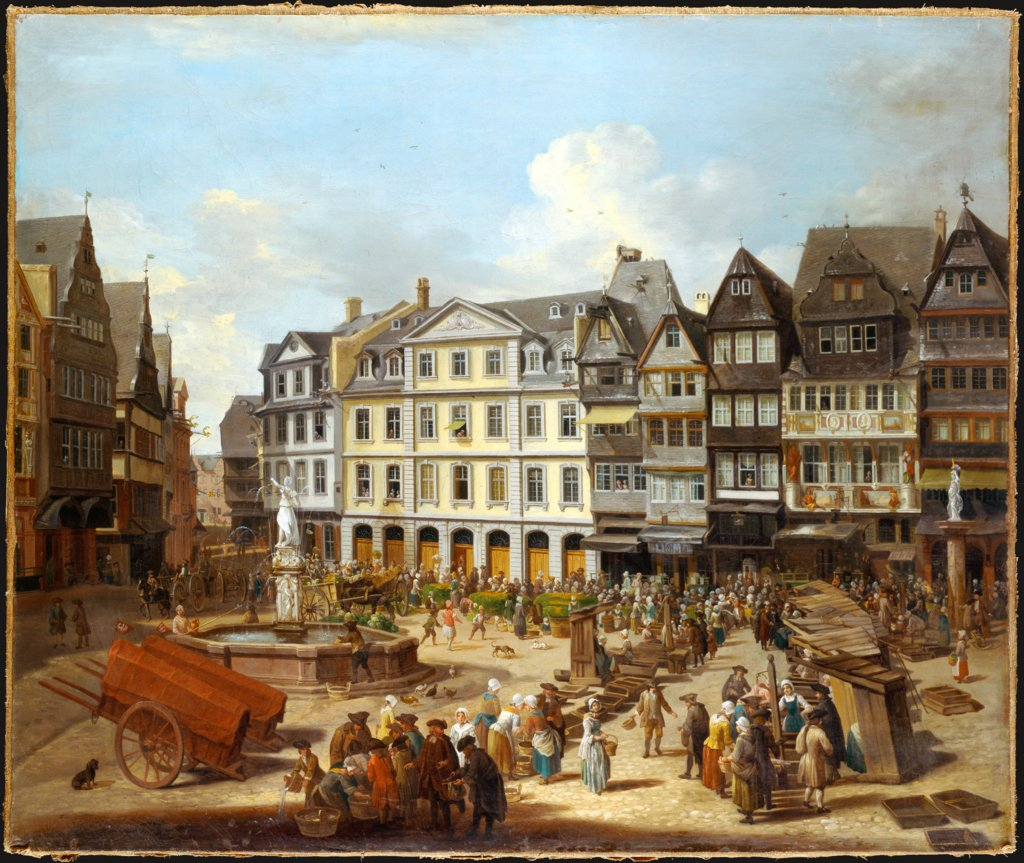 A Market on the Römerberg in Frankfurt, Christian Georg Schütz the Elder