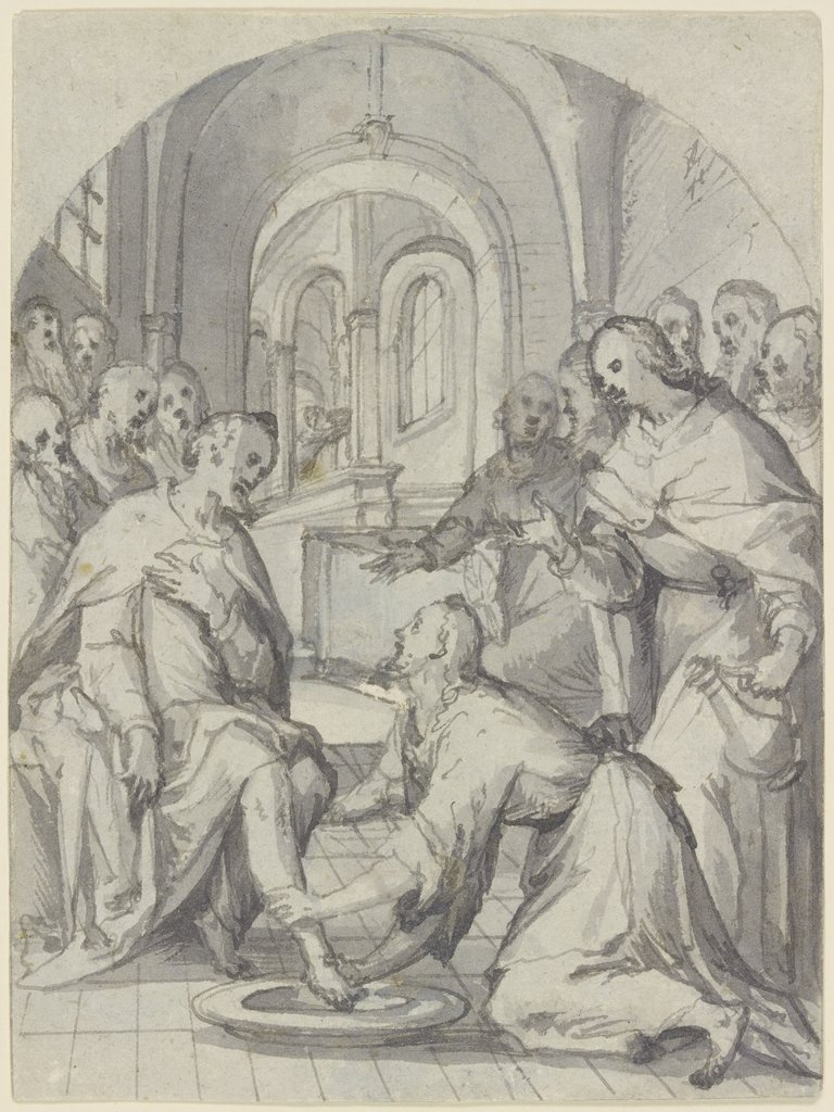 The footwashing, Netherlandish, 17th century   ?