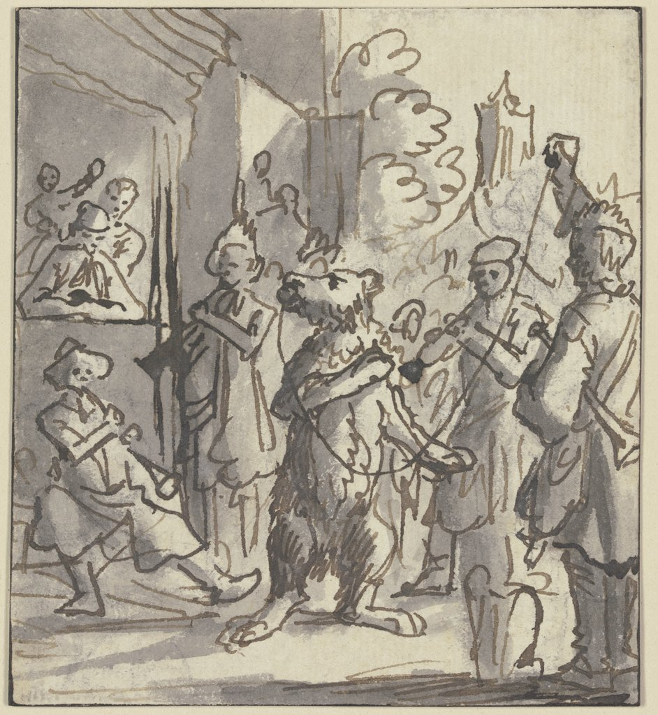 Musicians with performing bear, Netherlandish, 17th century