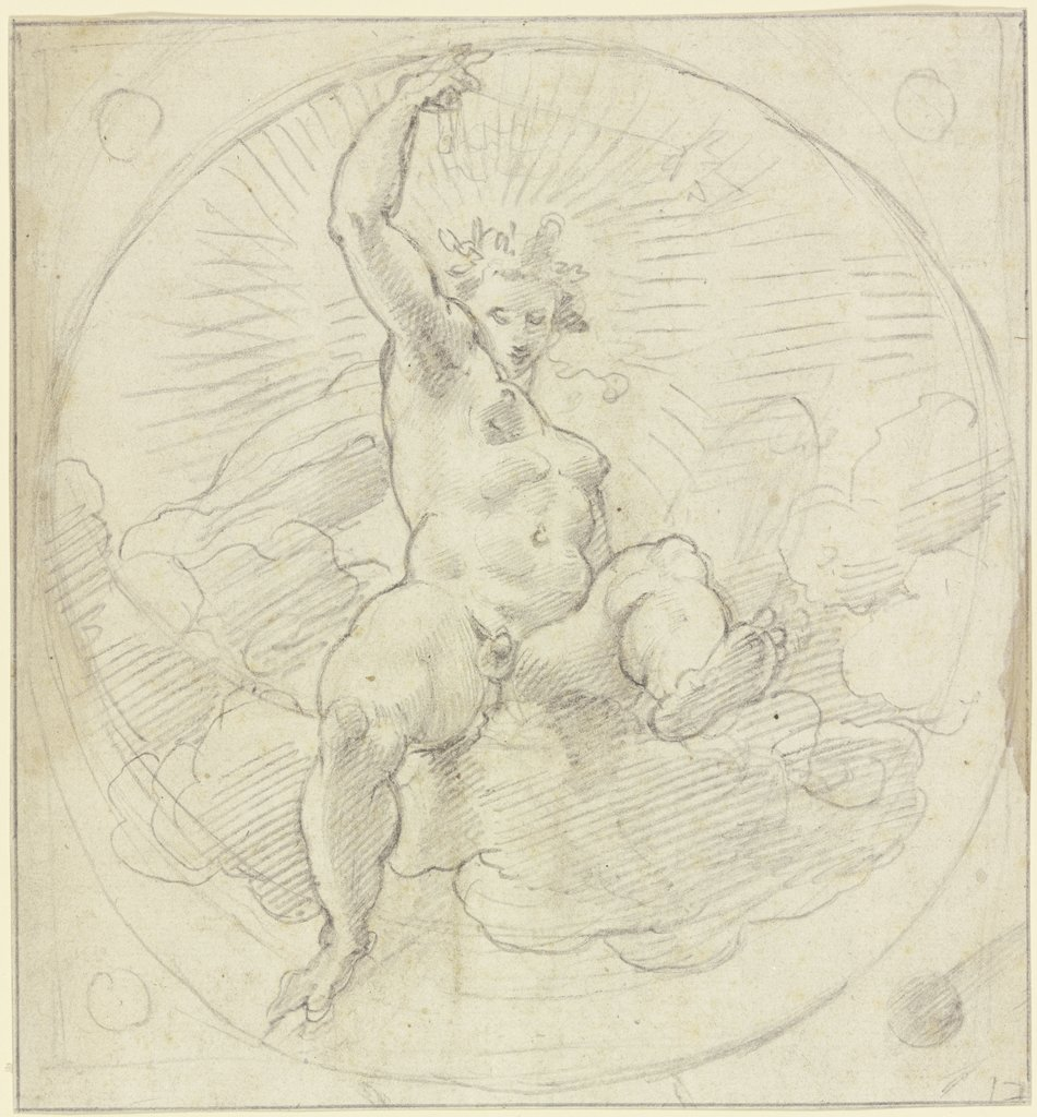 Helios on clouds, Correggio  school ?