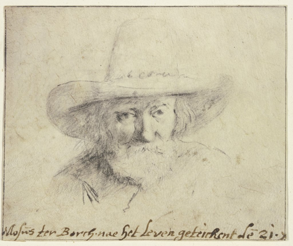 Bearded man's head with hat,