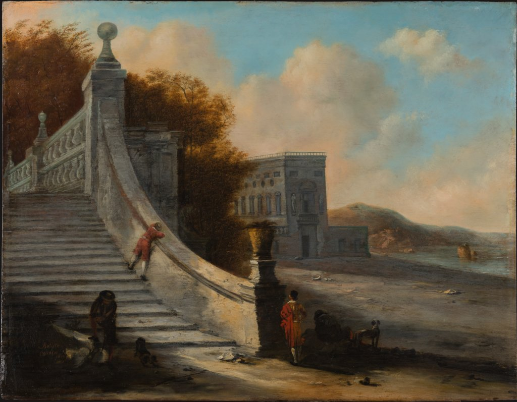Palace with Outdoor Stairs at the Sea, Johann Wilhelm Baur  circle ?