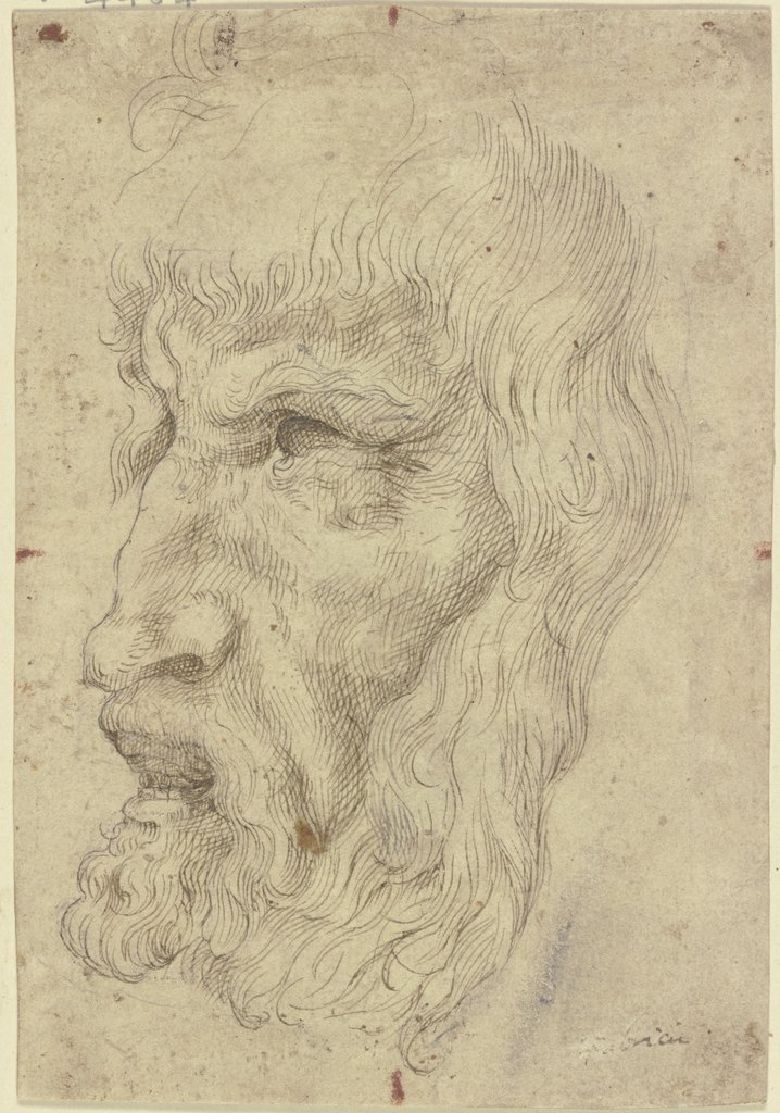 Antique masks to the left, Leonardo da Vinci  imitator