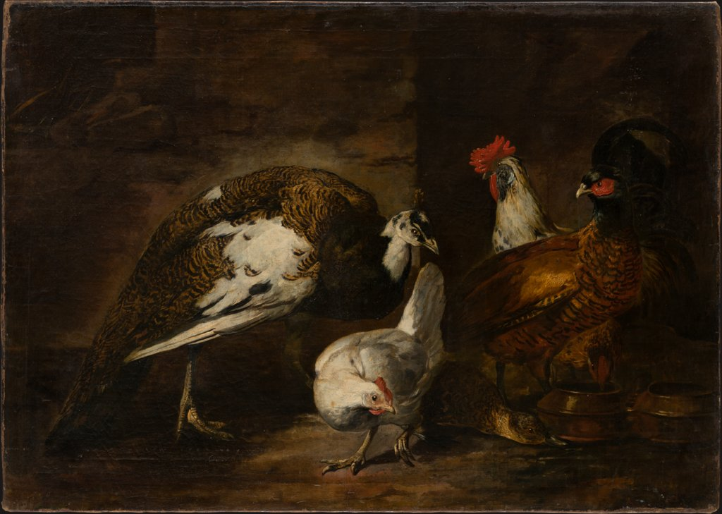 Poultry Yard with Peacock and Peahen, Mario Nuzzi called Mario de'Fiori