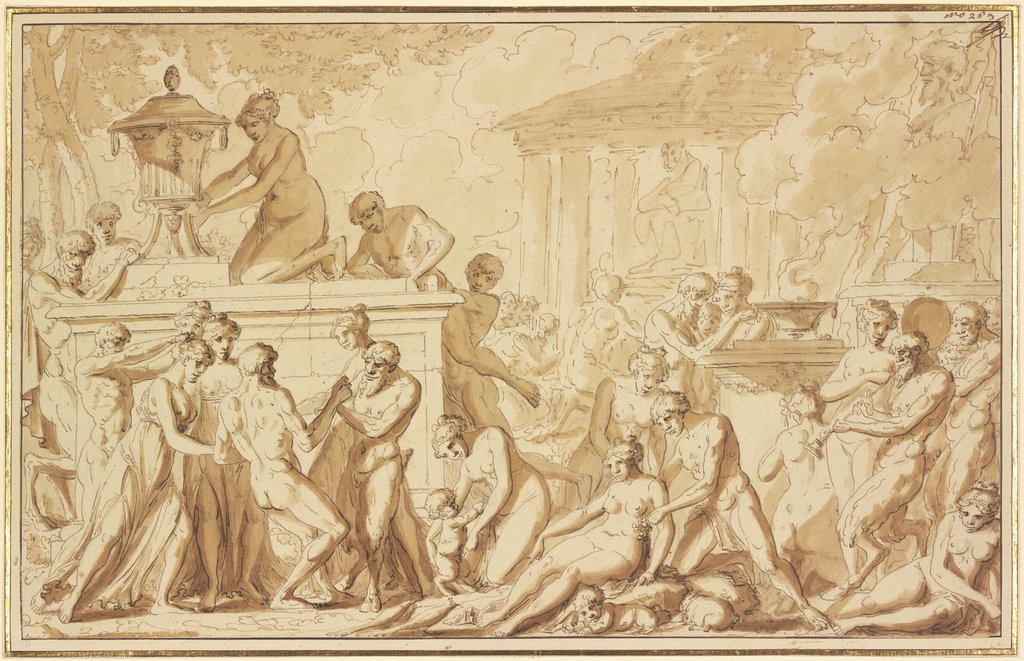 Bacchanal at a temple, Louis Félix de La Rue