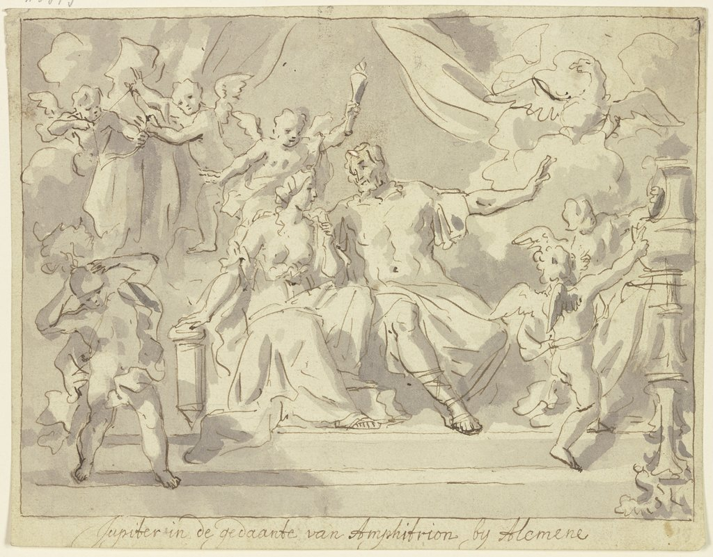 Jupiter in de gedaante van Amphitrion by Alcmene, Jan Luyken   ?