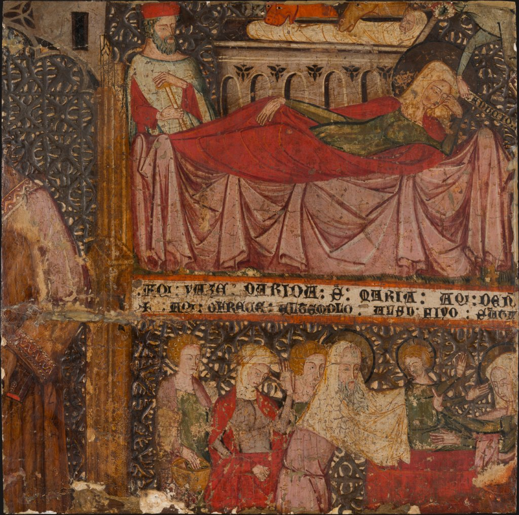 Fragment of an Altarpiece with a Standing Saint, The Birth of Christ, and The Presentation in the Temple, Spanish Master first half of the 14th century