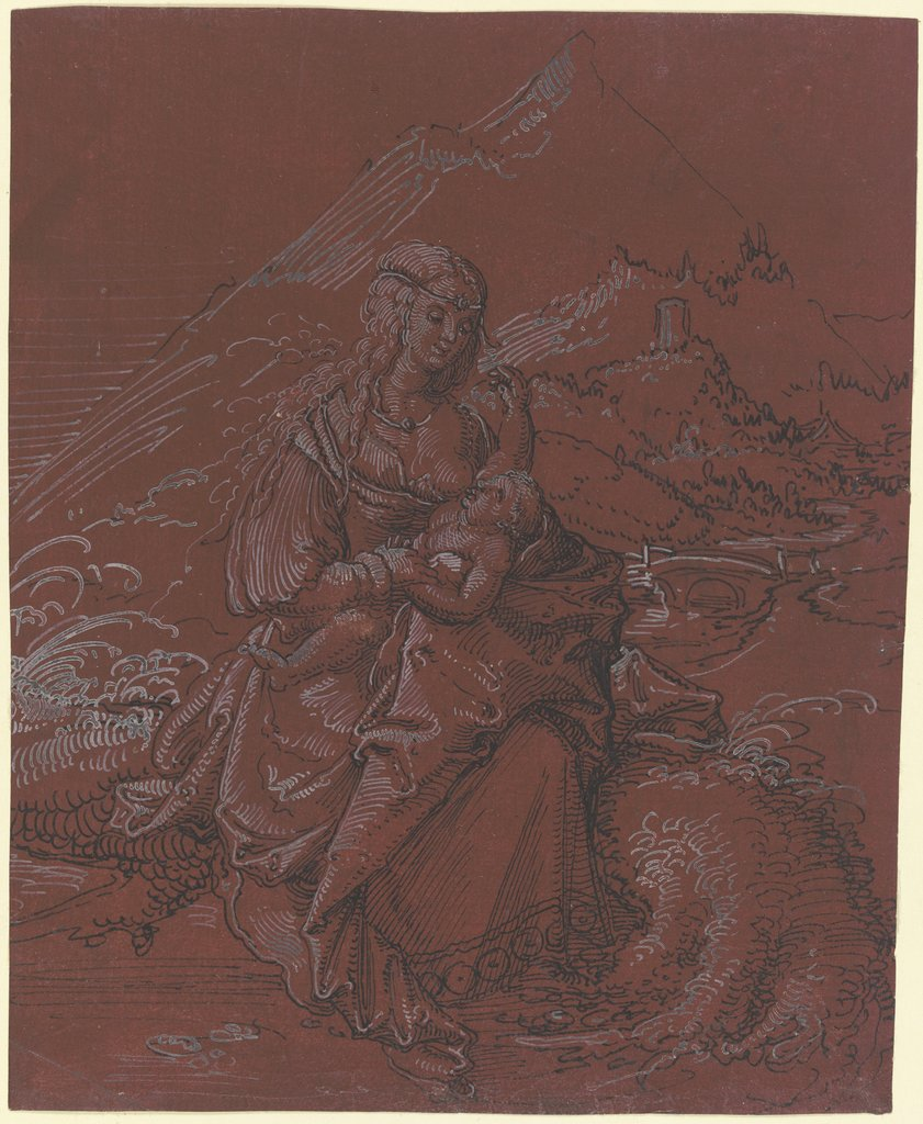 Madonna lactans in einer Landschaft, southern German, 16th century, Monogrammist I above a spade
