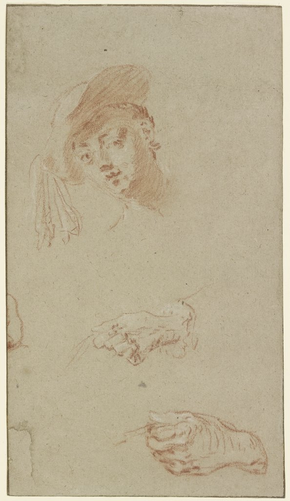 Head and two hands, Nicolas Lancret
