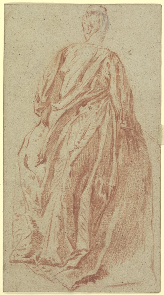 Dame in Rückansicht, den Kopf im verlorenen Profil nach links gewandt, French, 18th century, after Jean-Antoine Watteau