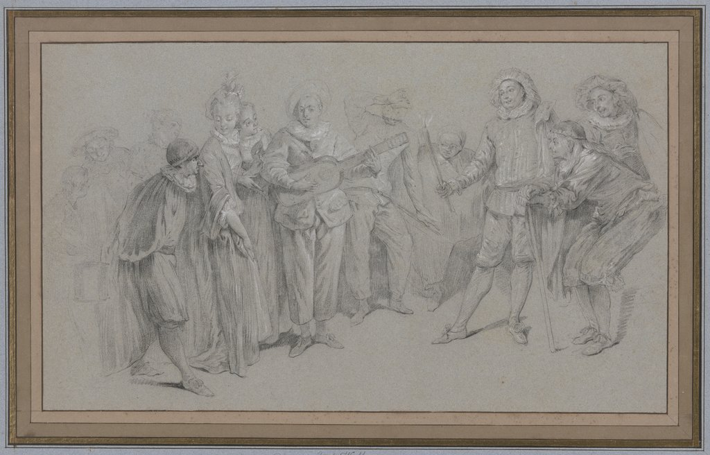 Die italienische Komödie, French, 18th century, after Jean-Antoine Watteau