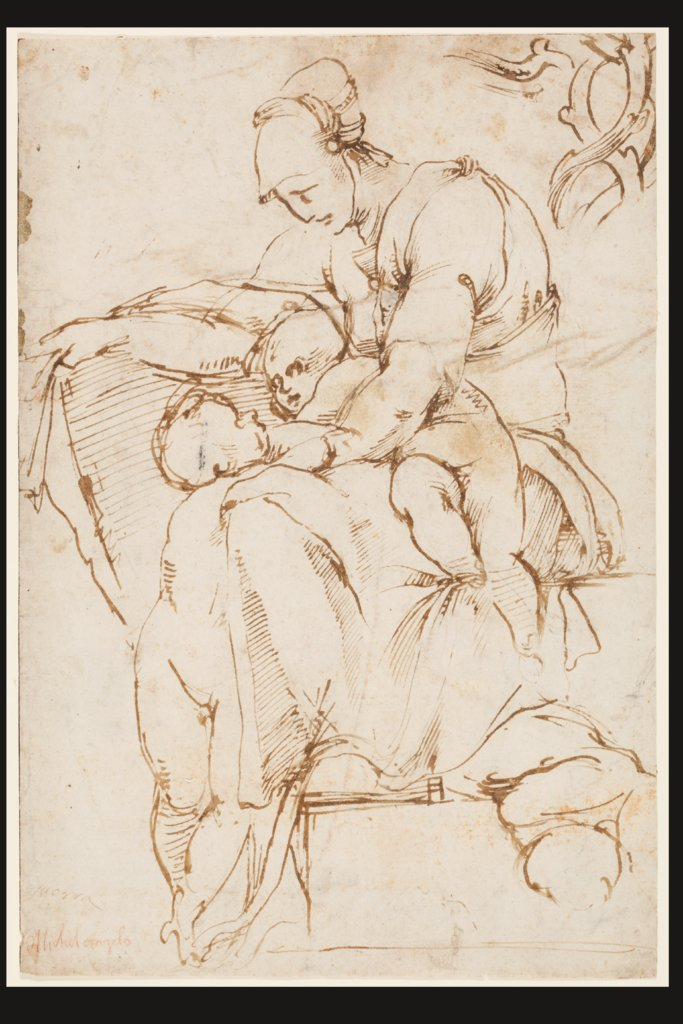 Seated Woman with Children (Caritas); branches at top right, Rosso Fiorentino
