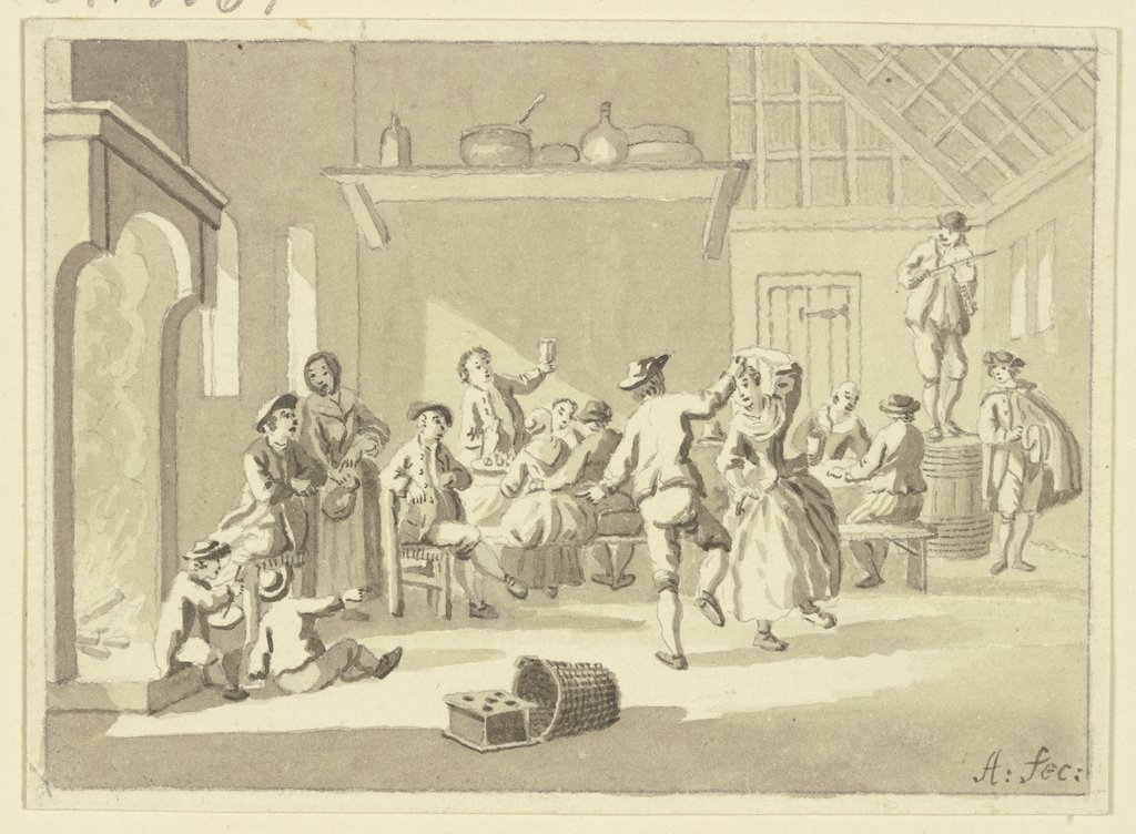 Dance in the tavern, Netherlandish, 18th century