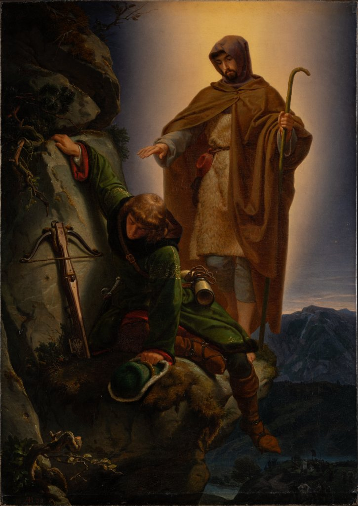 A Guardian Angel Rescuing Emperor Maximilian from the Martinswand, Alfred Rethel