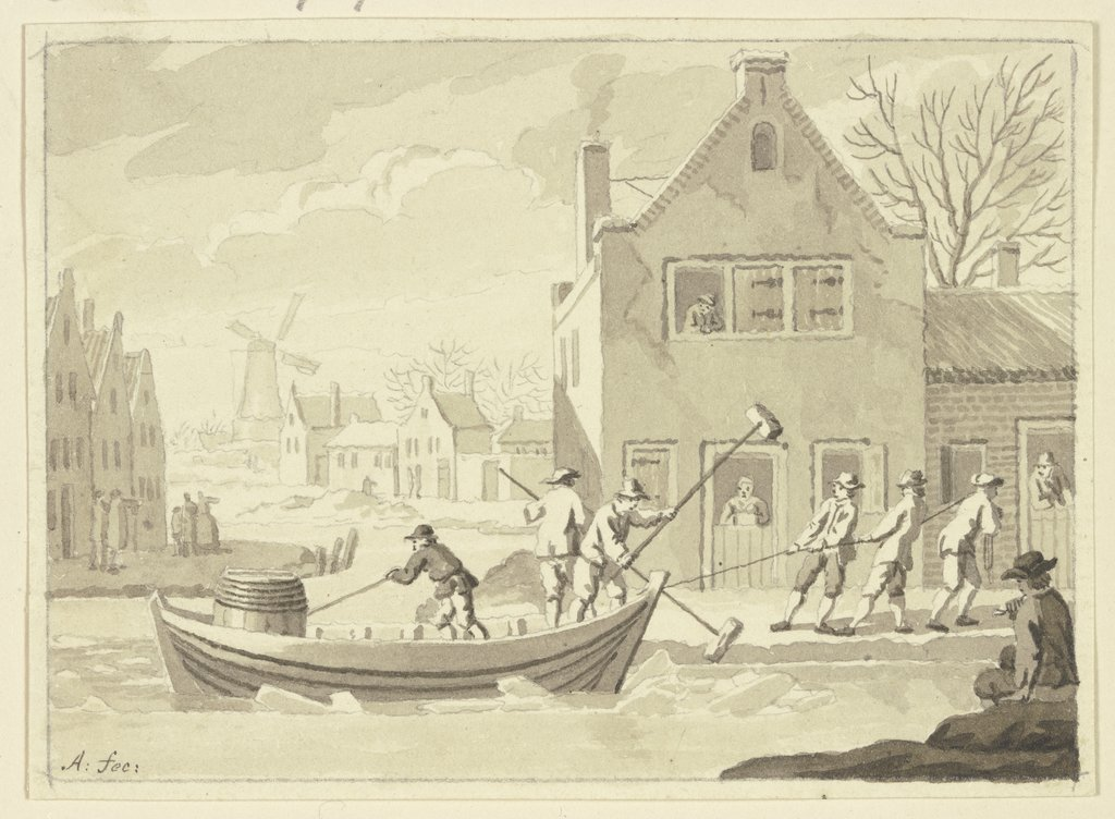 Cottage in the ice, Netherlandish, 18th century