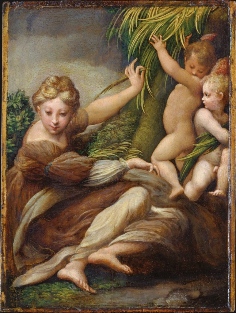 Female Martyr with Angels (Saint Catherine of Alexandria?), Parmigianino