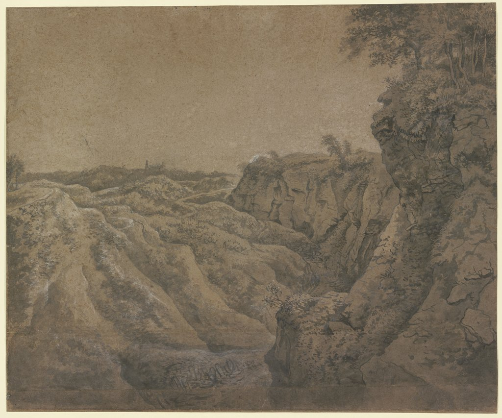 Landscape with a View of Bentheim Castle in the far Distance, Anthonie Waterloo
