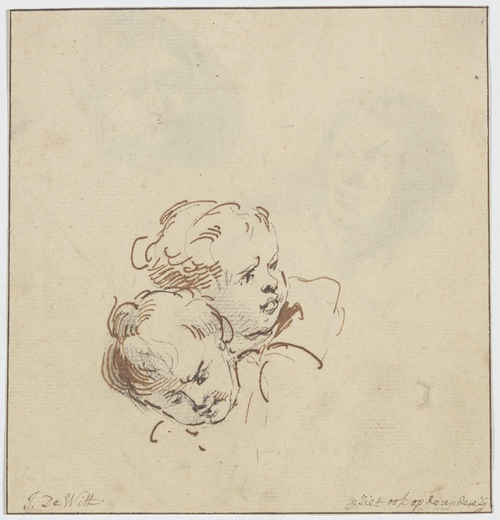 Two angel heads, Jacob de Wit