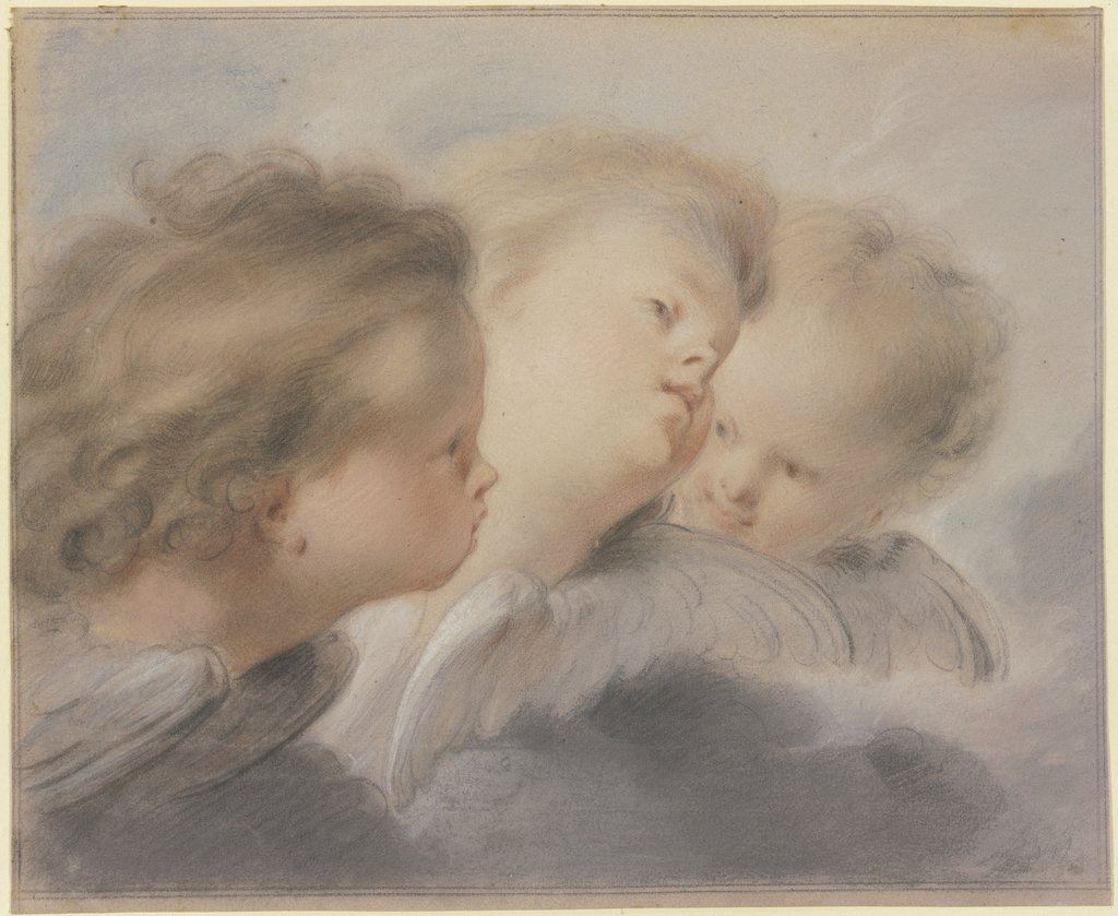 Three angel heads, Jacob de Wit