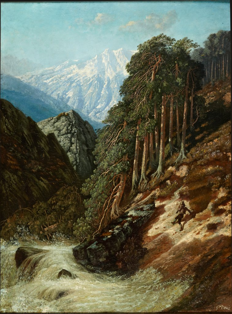 Alpine Landscape with Beck, Gustave Doré