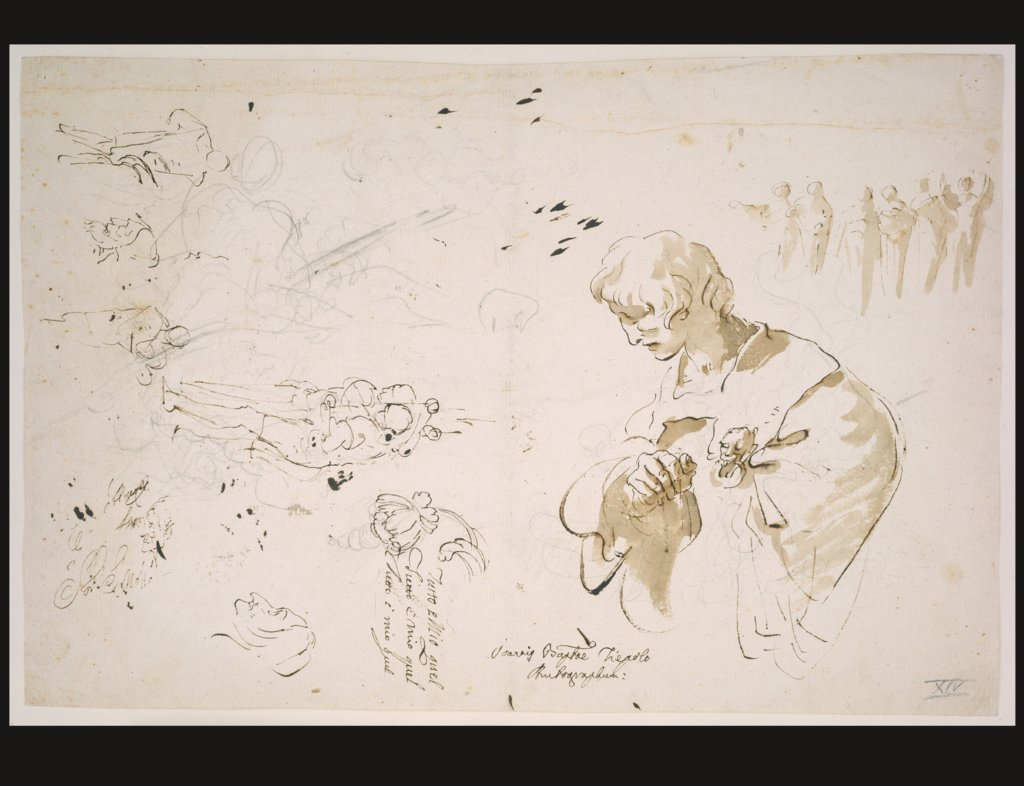 Study sheet with a young man in profile, looking left; studies of figures and heads, Giovanni Battista Tiepolo