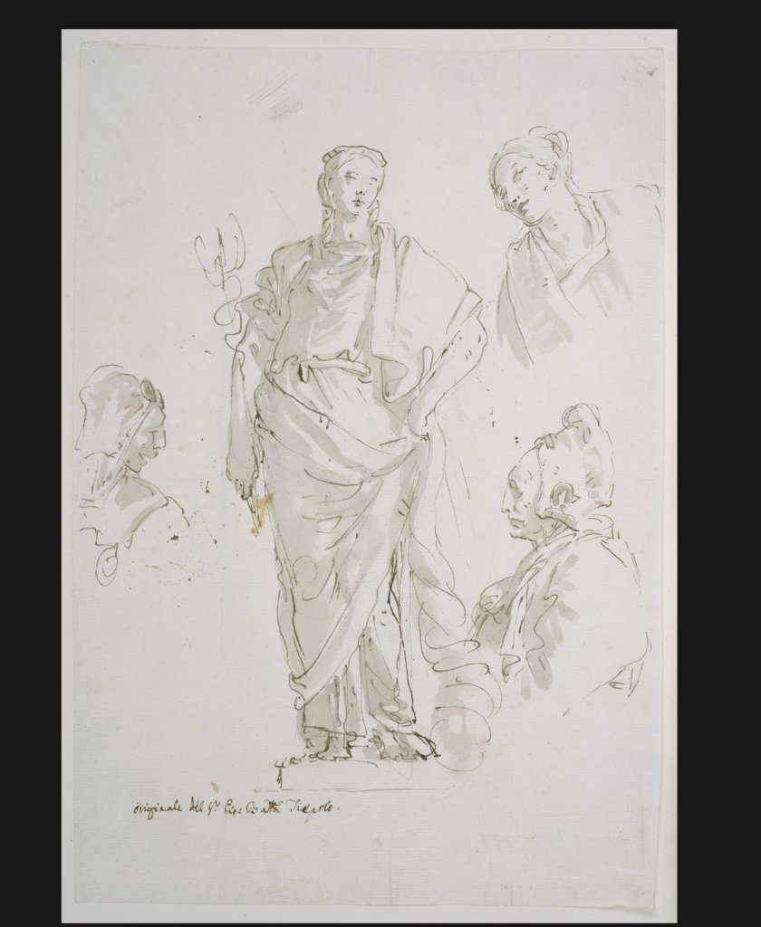 Standing female figure on a pedestal and three studies of heads, Giovanni Battista Tiepolo