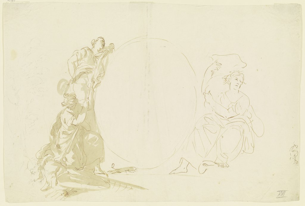 Three women around an oval, Giovanni Battista Tiepolo   ?