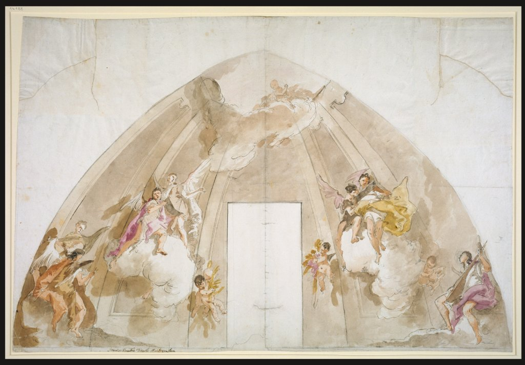 Singing and Music-Making Angels: Preparatory drawing for the ceiling of Udine Cathedral, Giovanni Battista Tiepolo