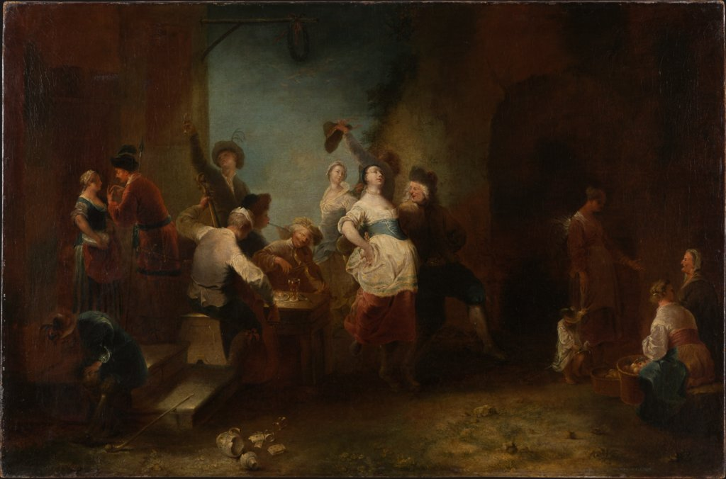 A Merry Company Dancing outside an Inn, Januarius Zick