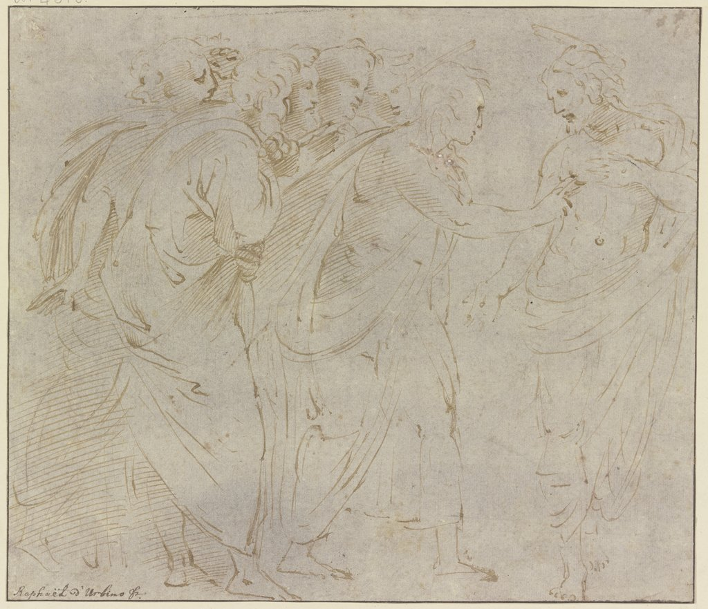 The unbelieving Thomas, Italian, 16th century, after Raphael