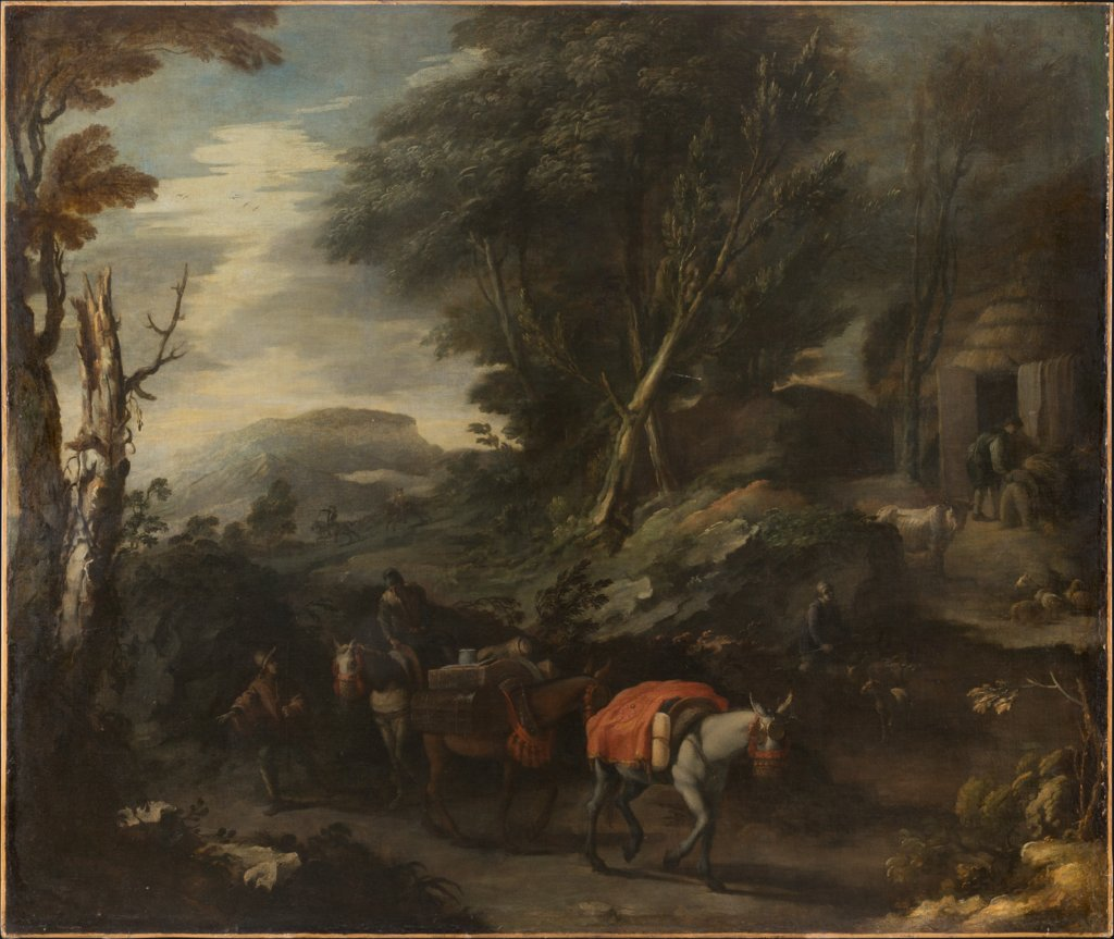 Mountainous landscape with a traveling merchant, Spanish Master 17th century